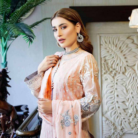 Luxury Pearl Embroidered Chiffon 3 Piece Semi-Stitched Suit - 4697