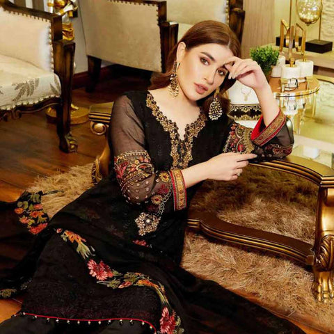 Luxury Pearl Embroidered Chiffon 3 Piece Semi-Stitched Suit - 4698