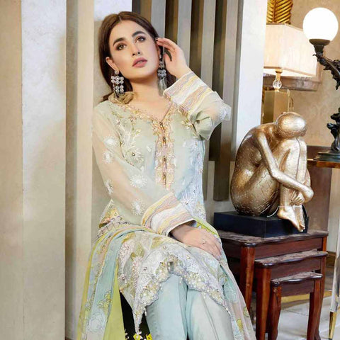 Luxury Pearl Embroidered Chiffon 3 Piece Semi-Stitched Suit - 4699