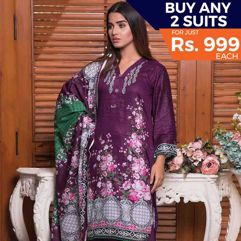 Rangreza Printed Lawn 3 Piece Un-Stitched Suit Vol-09 - ZS 07