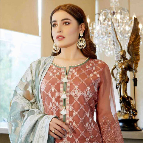 Luxury Pearl Embroidered Chiffon 3 Piece Semi-Stitched Suit - 4700