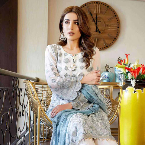 Luxury Pearl Embroidered Chiffon 3 Piece Semi-Stitched Suit - 4702