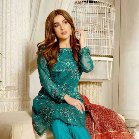 Extraordinaire Embroidered Chiffon 3 Pieces Un-Stitched Suits - 4703