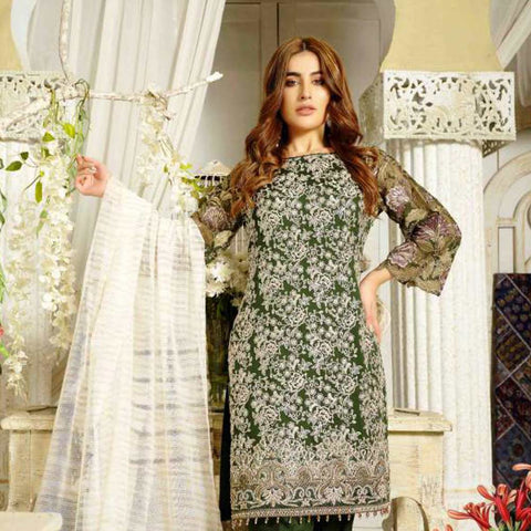 Extraordinaire Embroidered Chiffon 3 Pieces Un-Stitched Suits - 4706