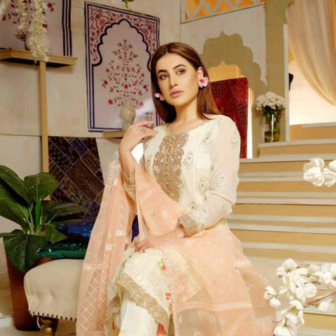 Extraordinaire Embroidered Chiffon 3 Pieces Un-Stitched Suits - 4710