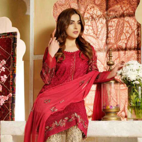 Extraordinaire Embroidered Chiffon 3 Pieces Un-Stitched Suits - 4712