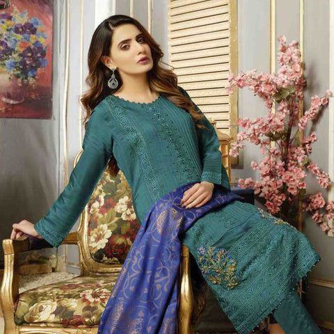 Majestic Marvel Embroidered Viscose 3 Pieces Suit Semi Stitched - 4713