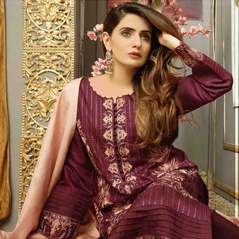 Majestic Marvel Embroidered Viscose 3 Pieces Suit Semi Stitched - 4714