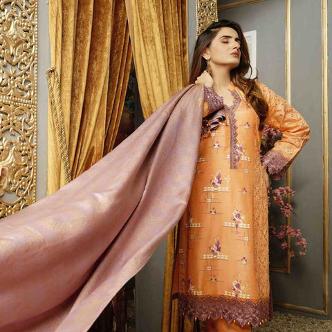 Majestic Marvel Embroidered Viscose 3 Pieces Suit Semi Stitched - 4715