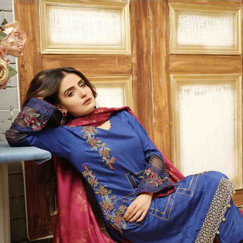 Majestic Marvel Embroidered Viscose 3 Pieces Suit Semi Stitched - 4716