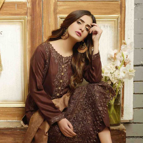 Majestic Marvel Embroidered Viscose 3 Pieces Suit Semi Stitched - 4720