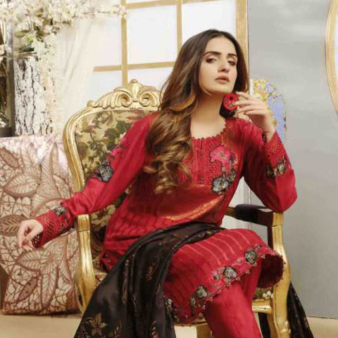 Majestic Marvel Embroidered Viscose 3 Pieces Suit Semi Stitched - 4721