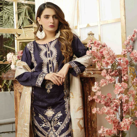 Majestic Marvel Embroidered Viscose 3 Pieces Suit Semi Stitched - 4723