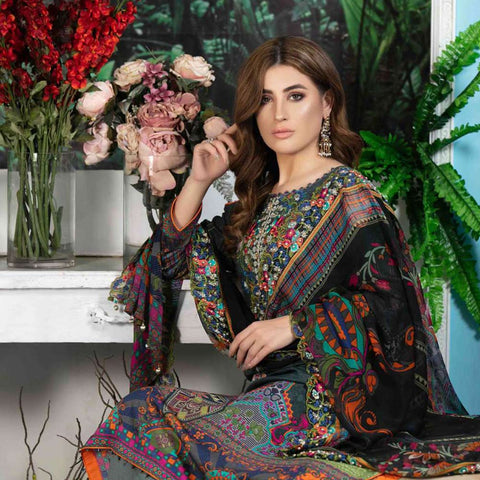 Melange Digital Embroidered Viscose 3 Piece Un-Stitched Suit - 4733
