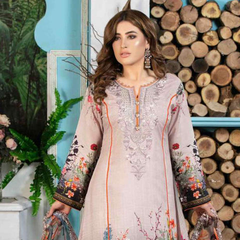 Melange Digital Embroidered Viscose 3 Piece Un-Stitched Suit - 4735