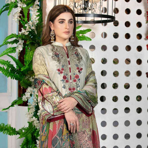Melange Digital Embroidered Viscose 3 Piece Un-Stitched Suit - 4736