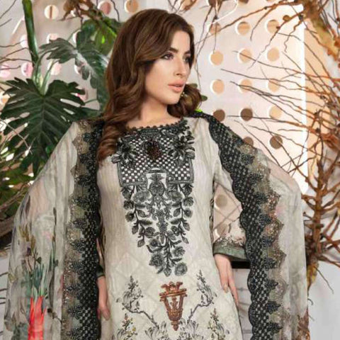 Melange Digital Embroidered Viscose 3 Piece Un-Stitched Suit - 4737