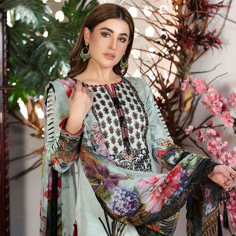 Melange Digital Embroidered Viscose 3 Piece Un-Stitched Suit - 4740