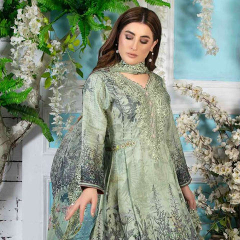 Melange Digital Embroidered Viscose 3 Piece Un-Stitched Suit - 4742