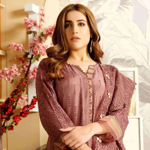 Tresor Embroidered Viscose 3 Piece Semi-Stitched Suit - 4745