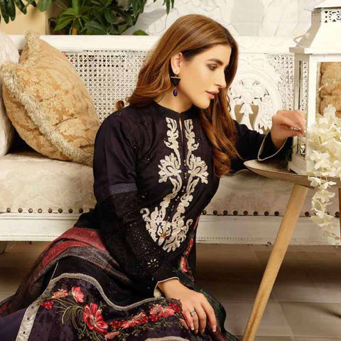Tresor Embroidered Viscose 3 Piece Semi-Stitched Suit - 4746