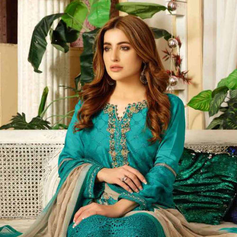 Tresor Embroidered Viscose 3 Piece Semi-Stitched Suit - 4747
