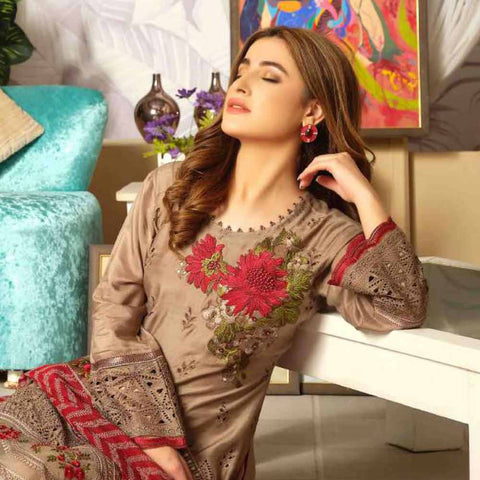 Tresor Embroidered Viscose 3 Piece Semi-Stitched Suit - 4748
