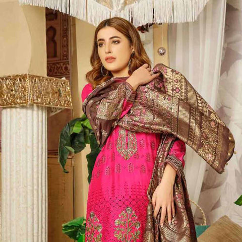 Tresor Embroidered Viscose 3 Piece Semi-Stitched Suit - 4749
