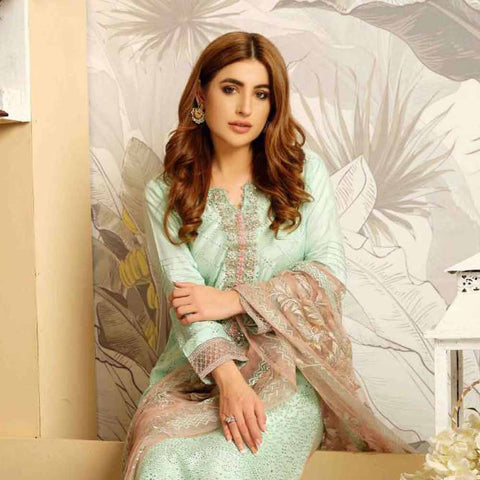 Tresor Embroidered Viscose 3 Piece Semi-Stitched Suit - 4750