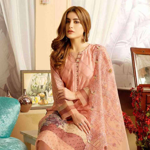 Tresor Embroidered Viscose 3 Piece Semi-Stitched Suit - 4752