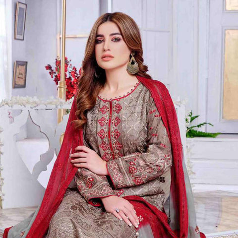 Luxury Redefined Embroidered Viscose 3 Piece Semi-Stitched Suit - 4773