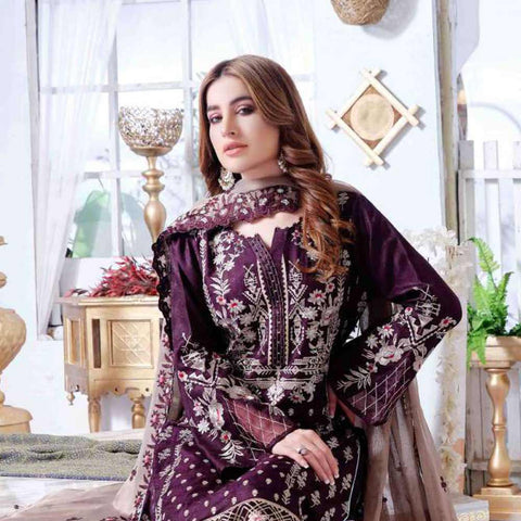 Luxury Redefined Embroidered Viscose 3 Piece Semi-Stitched Suit - 4775