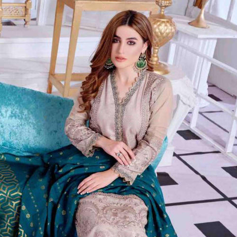 Luxury Redefined Embroidered Viscose 3 Piece Semi-Stitched Suit - 4776