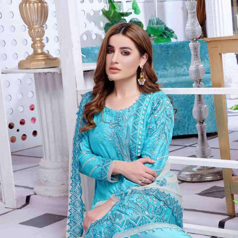 Luxury Redefined Embroidered Viscose 3 Piece Semi-Stitched Suit - 4778