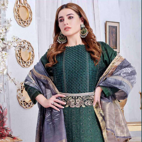 Luxury Redefined Embroidered Viscose 3 Piece Semi-Stitched Suit - 4779