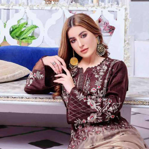 Luxury Redefined Embroidered Viscose 3 Piece Semi-Stitched Suit - 4783