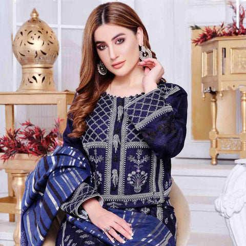 Luxury Redefined Embroidered Viscose 3 Piece Semi-Stitched Suit - 4784