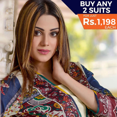 Three Star Printed Lawn 3 Piece Un-Stitched Suit Vol 2 - 2 B