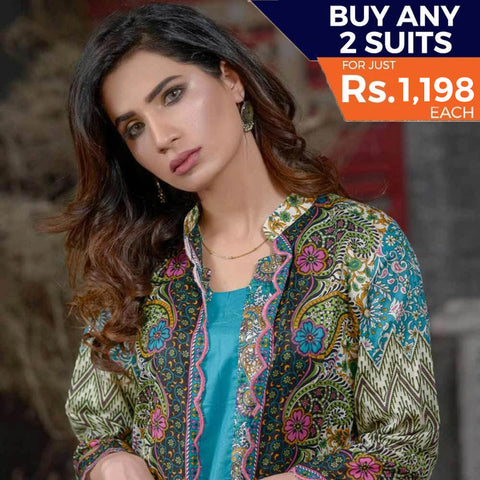 Three Star Printed Lawn 3 Piece Un-Stitched Suit Vol 1 - 5 A