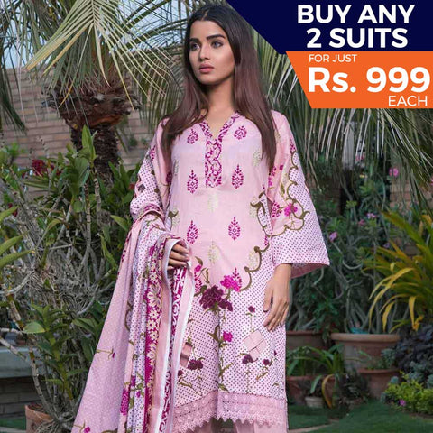Rangreza Printed Lawn 3 Piece Un-Stitched Suit Vol-09 - ZS 04