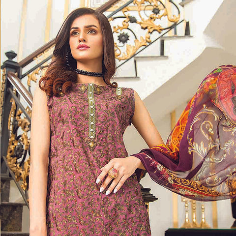 Masumery Embroidered Lawn 3 Piece Un-Stitched Suit Vol 17 - 04
