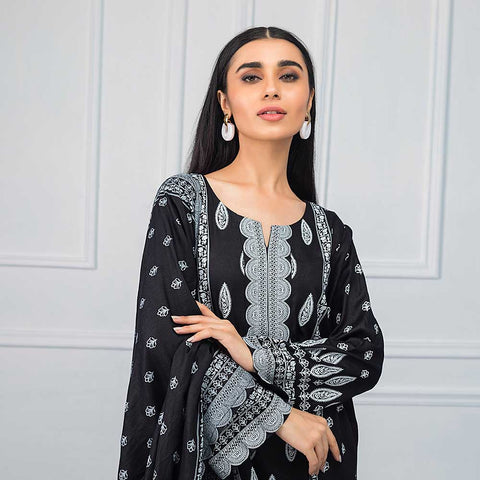 Sahil Black & White Printed Lawn Un-Stitched Suit - 04