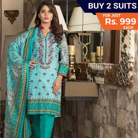 Rangreza Printed Lawn 3 Piece Un-Stitched Suit Vol-1 - 10 B - test-store-for-chase-value