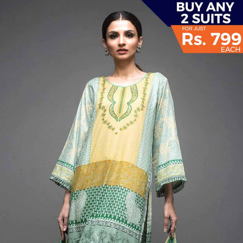 Rangreza Printed Lawn Vol-1 Un-Stitched Suit (6B) - test-store-for-chase-value