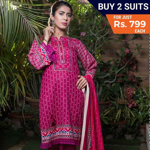 Sahil Printed Lawn Festive 3 Piece Un-Stitched Suit Vol 05 - 7