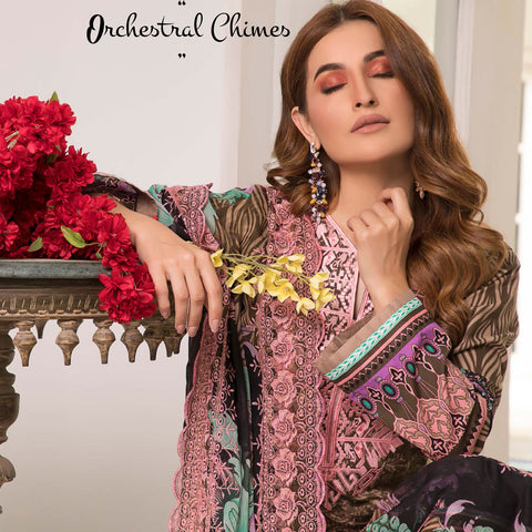 Zobia Noor Embroidered Lawn 3 Piece Un-Stitched Suit - B1