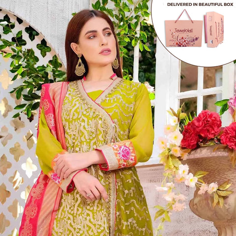 Exclusively Yours Heavy Embroidered Chiffon 3 Piece Un-Stitched Suit - 4640