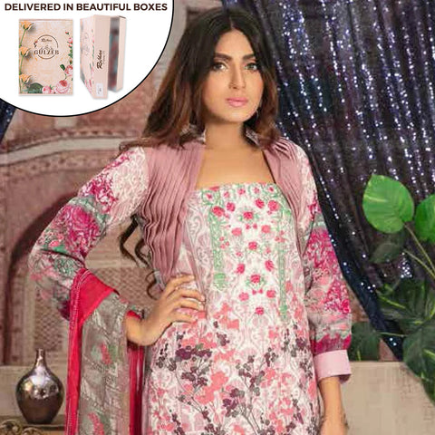 Gulzeb Embroidered Lawn Un-Stitched Suit - 6