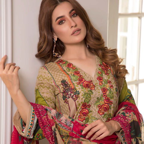 Zobia Noor Embroidered Lawn 3 Piece Un-Stitched Suit - B6