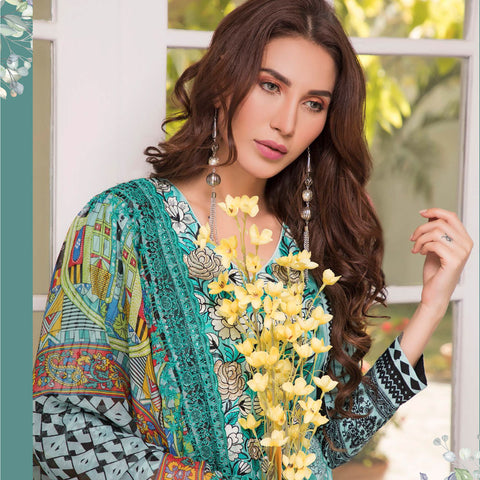 Zobia Noor Embroidered Lawn 3 Piece Un-Stitched Suit - A3